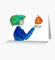 Sophie & Calcifer/ Howl's moving castle Greeting Card
