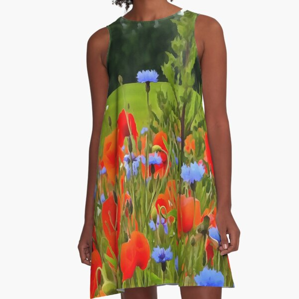 Poppies And Cornflowers A-Line Dress