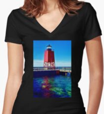 Charlevoix Lighthouse Reflections Women's Fitted V-Neck T-Shirt