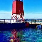 Charlevoix Lighthouse Reflections by Colette  Larson
