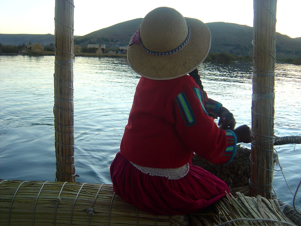 Peruvian girl from the floating islands by mojgan