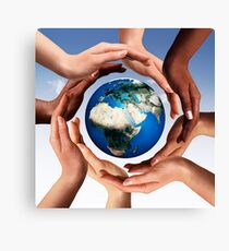 Multiracial hands making a circle together around the world globe art photo print Canvas Print
