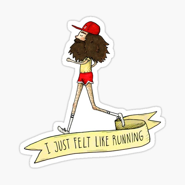 """¡correr! Una ilustración de Forrest Gump corriendo por los Estados Unidos y la cita """"Simplemente tenía ganas de correr"""". La ilustración original fue hecha con tinta y marcadores. Pegatina"""