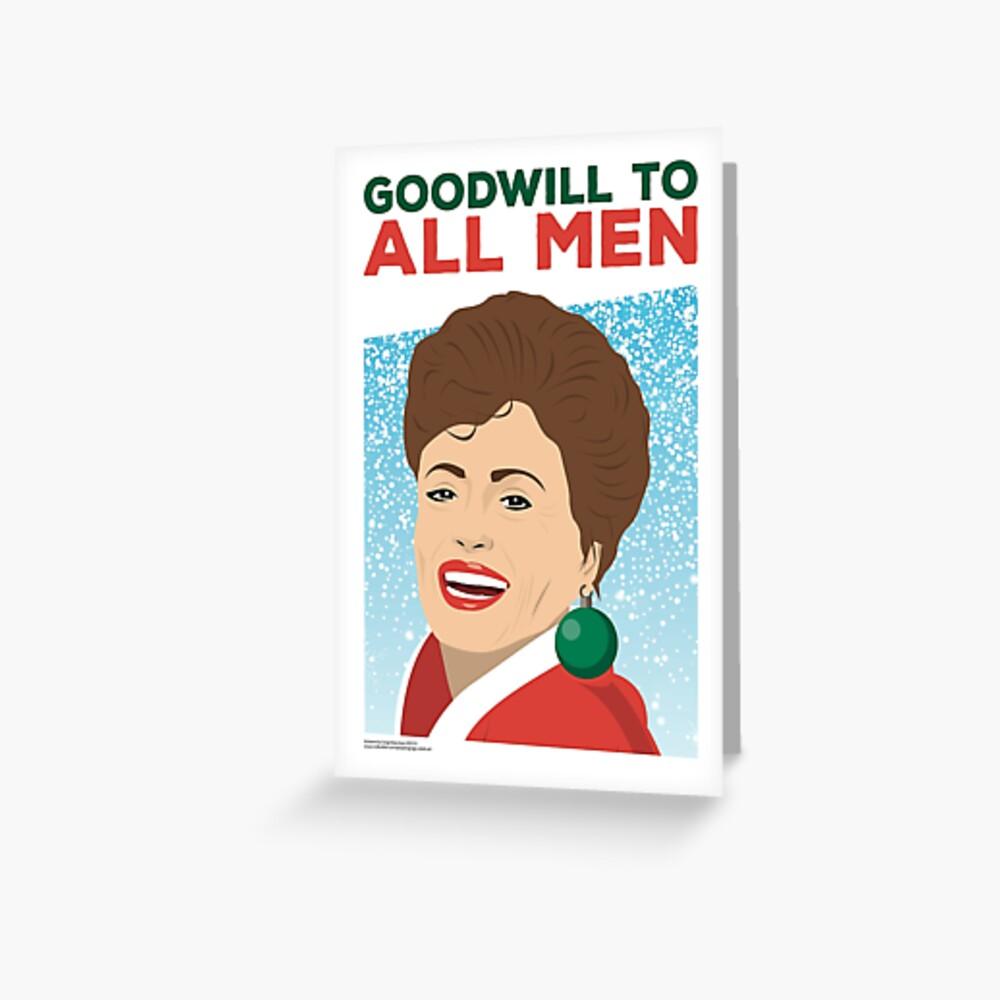 Golden Girls - Weihnachtskarte - Goodwill für alle Männer - Blanche Grußkarte