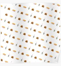In N Out Style Burger Shake Fries Pattern Poster