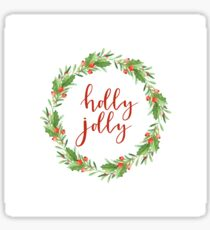Christmas wreath-holly jolly Sticker