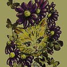 Vintage Style Cat and the Butterflies by georgiescraft