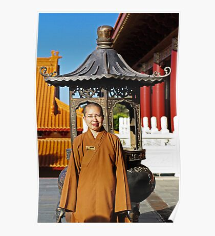 Nan Tien Buddhist Temple - Ven. Ru Yi in front of Incense Burner at Main temple Poster