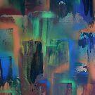 City lights through wet window pane by George Hunter