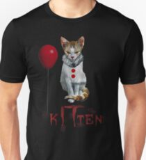 Kitten Clown Scary Fun Spooky Halloween Cat Funny Joke Design T-Shirt