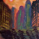 Skyscrapers by the river by George Hunter