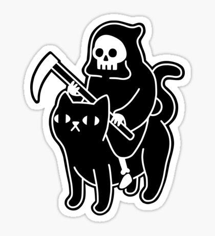Death Rides A Black Cat Glossy Sticker