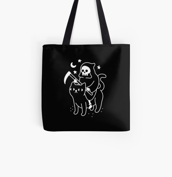 Death Rides A Black Cat All Over Print Tote Bag