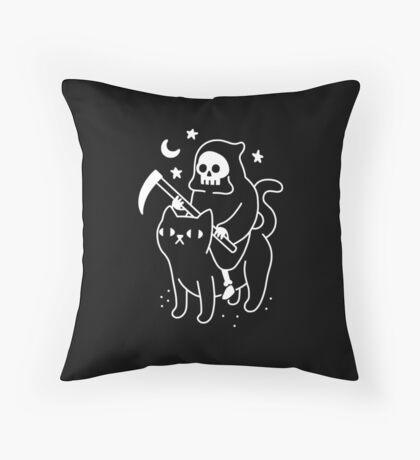 Death Rides A Black Cat Throw Pillow