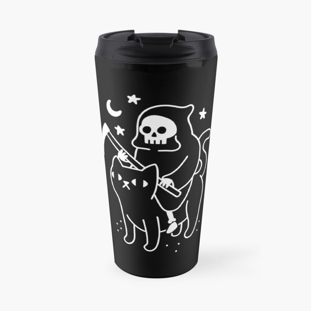 Death Rides A Black Cat Travel Mug