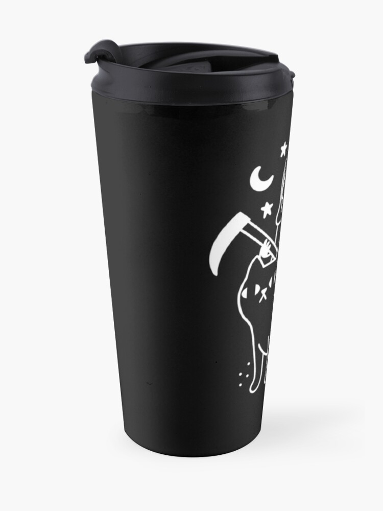 Alternate view of Death Rides A Black Cat Travel Mug