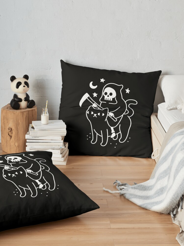 Alternate view of Death Rides A Black Cat Floor Pillow