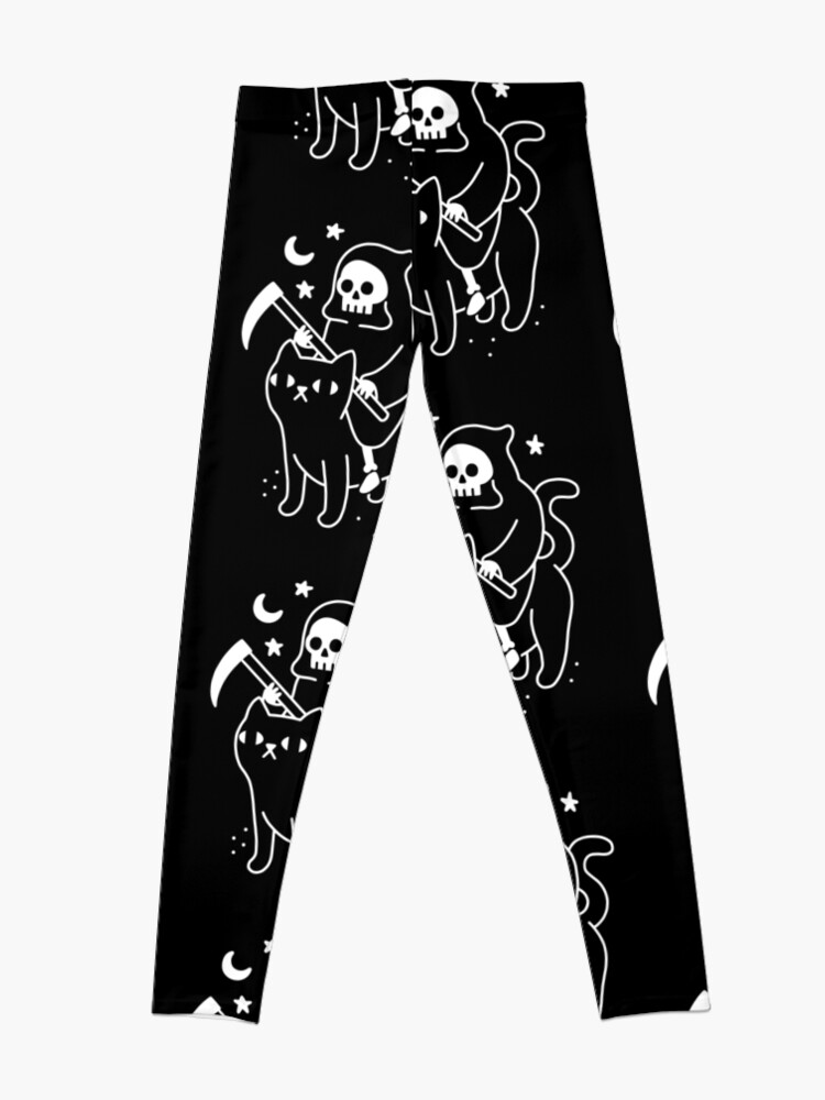 Alternate view of Death Rides A Black Cat Leggings