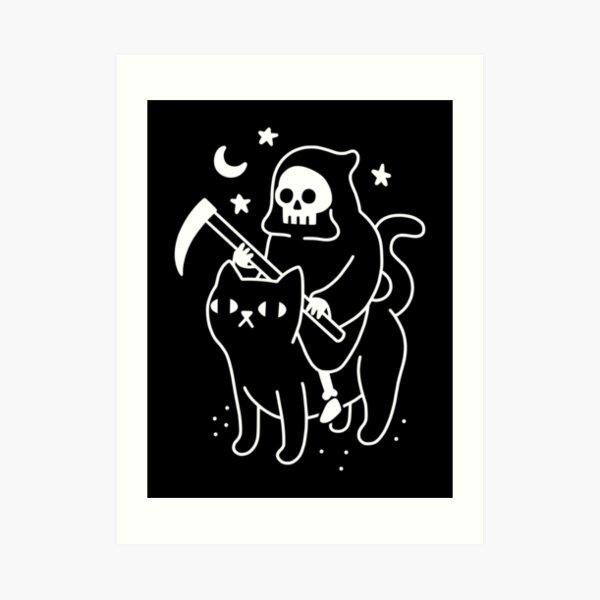 Der Tod reitet eine schwarze Katze Kunstdruck