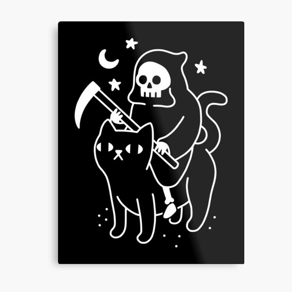 Der Tod reitet eine schwarze Katze Metallbild