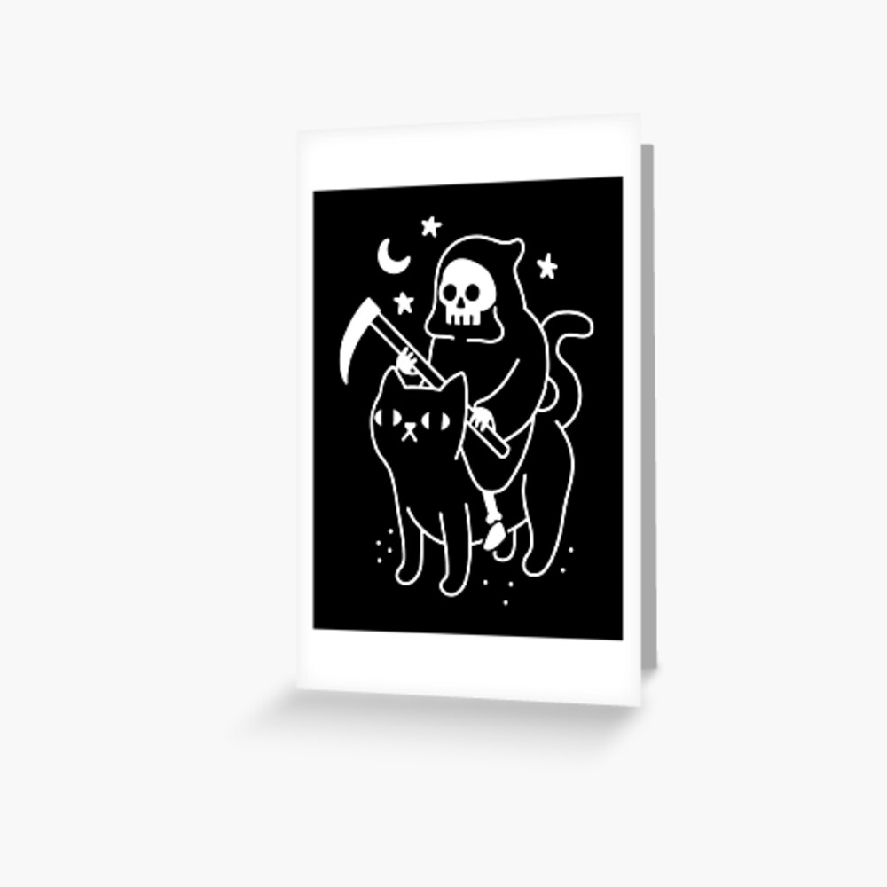 Death Rides A Black Cat Greeting Card