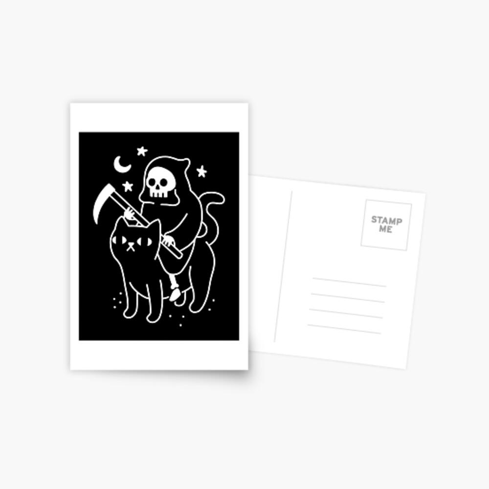 Death Rides A Black Cat Postcard