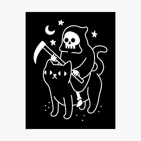 La mort chevauche un chat noir Impression photo