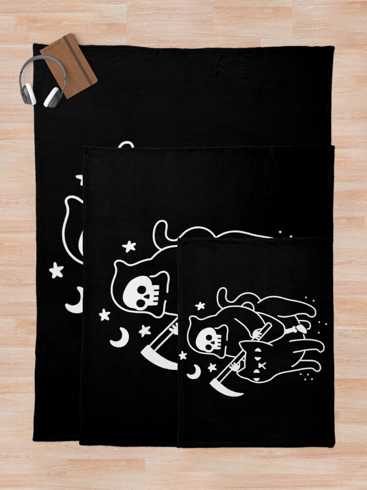 Alternate view of Death Rides A Black Cat Throw Blanket