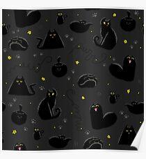 Black Cats Pattern Dark Poster
