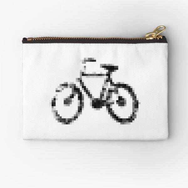 8 bit pixel bike (gray on white) Zipper Pouch