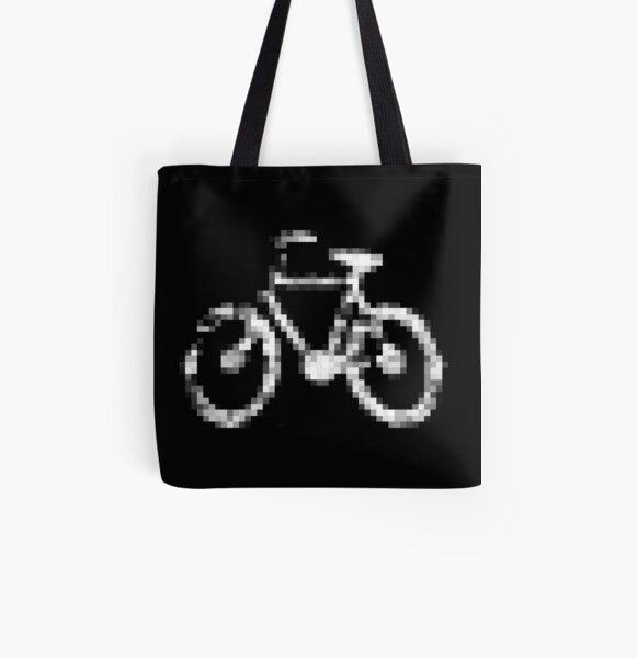 8 bit pixel bike (gray on black) All Over Print Tote Bag