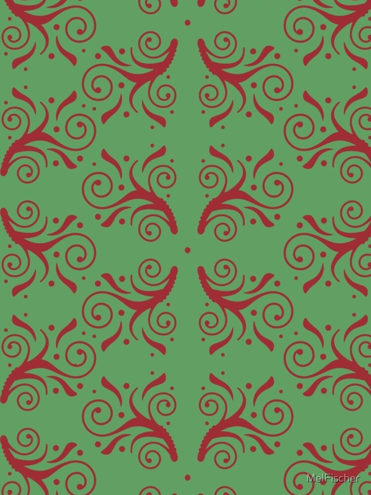 Christmas Red Flourishes on Green by MelFischer