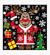 Deer Reindeer Rudolph Christmas Santa Claus Photographic Print