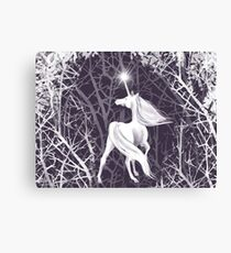 Unicorn in the dark magical forest  Canvas Print