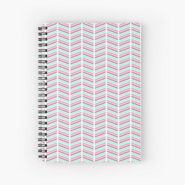Geometrical neon pink turquoise modern chevron zigzag Spiral Notebook