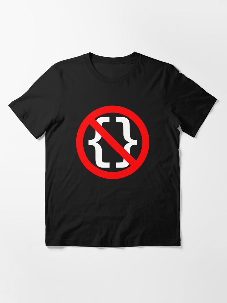 Alternate view of No Braces - Funny Python Coding Design Red/White Essential T-Shirt