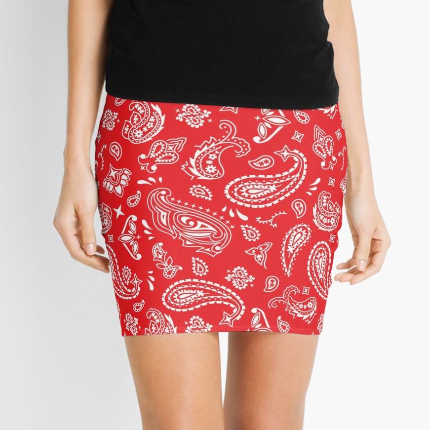 Bandana Seamless Pattern Red Mini Skirt