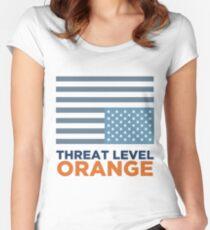 Threat Level Orange Women's Fitted Scoop T-Shirt