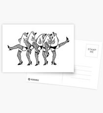 Legfish Chorus Line (ink sketch) Postcards