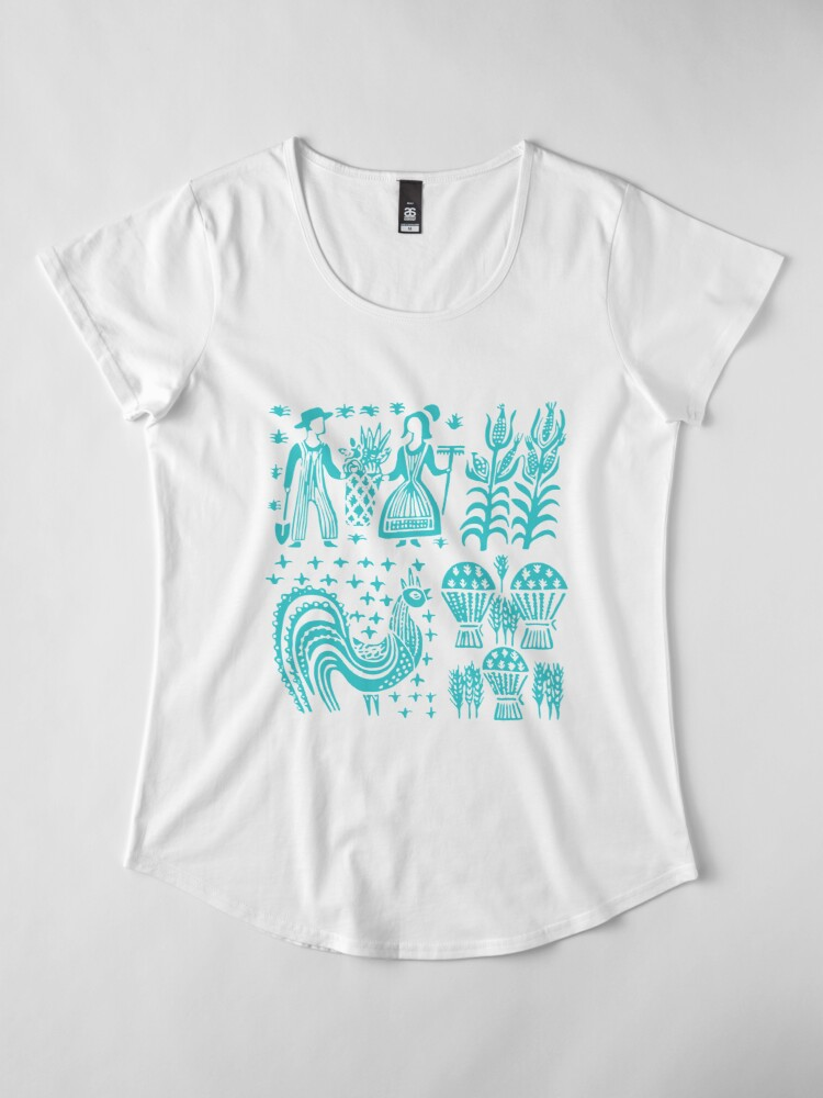 Alternate view of Vintage Pyrex Pattern - Butterprint Turquoise Blue Premium Scoop T-Shirt