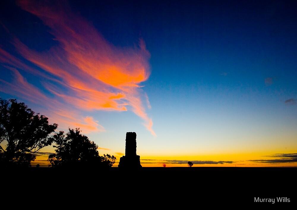 Chimney Silhouette Sun Set # 2 by Murray Wills