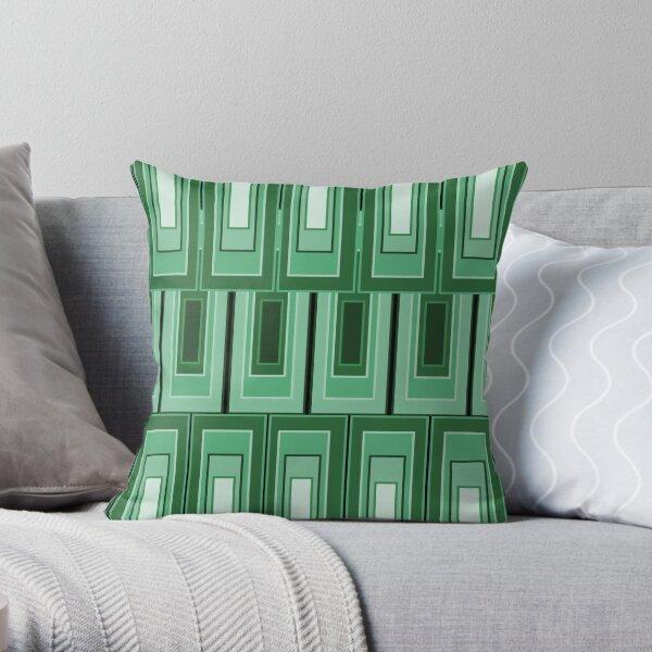 Panton/Art Deco Green Rectangles Throw Pillow