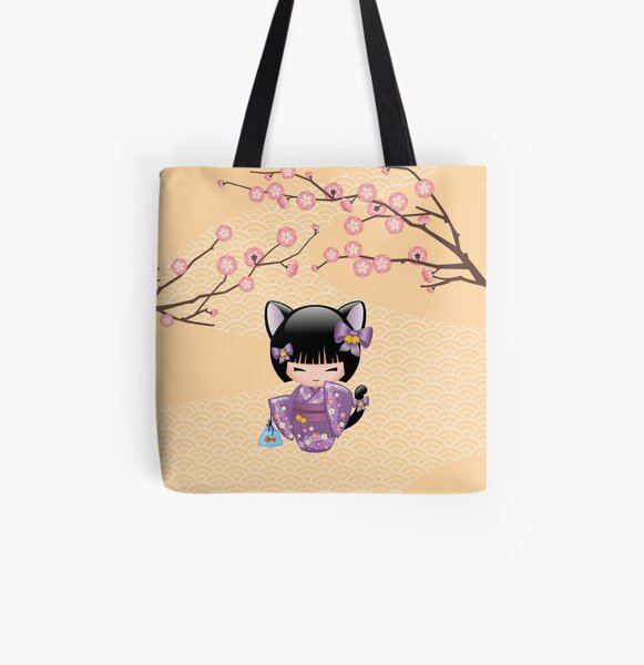 Neko Kokeshi Doll V2 All Over Print Tote Bag