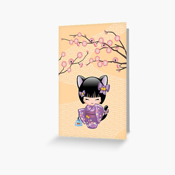 Neko Kokeshi Doll V2 Greeting Card