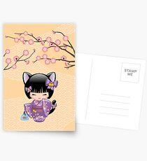 Neko Kokeshi Puppe V2 Postkarten