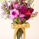 Flowers In Ribboned Vase  by Sandra Foster
