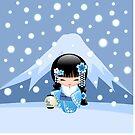 Winter Kokeshi Puppe V2 von Natalia Linnik