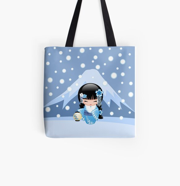 Winter Kokeshi Doll V2 All Over Print Tote Bag