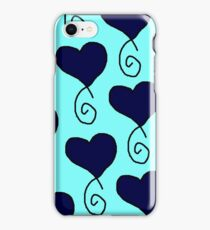 light blue with navy hearts iPhone Case/Skin
