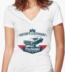 Pochinki Car Garage PUBG Women's Fitted V-Neck T-Shirt